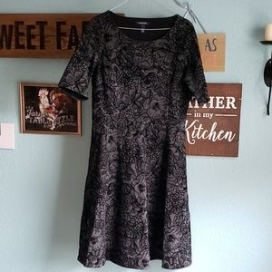 Land's End Gray and Black Floral Dress